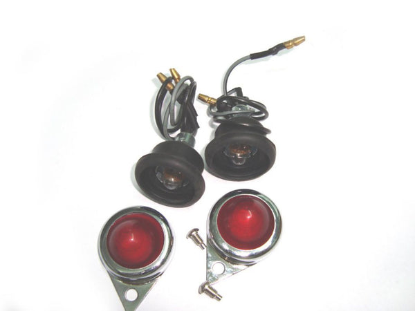 PAIR OF 12 VOLT COMPLETE RED PILOT WITH CHROME RIM #144372/B @ ROYAL SPARES AVAILABLE AT CLASSIC SPARE PARTS