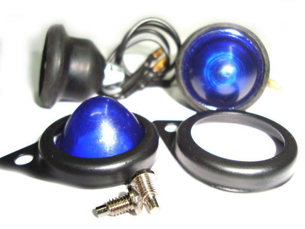 ROYAL ENFIELD BULLET 12 VOLT COMPLETE BLUE PILOT LAMP ASSEMBLY WITH BLACK RIMS AVAILABLE AT CLASSIC SPARE PARTS