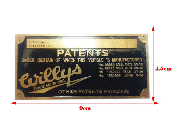 Willys Vehicle Serial Number Data Patents Plate Brass Made - Jeep