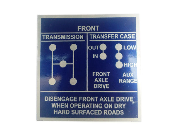 Vintage Jeep Willys Ford GPW 42-45 Shift Pattern Blue Aluninum Acid Etched Data Plate