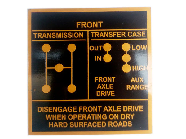 Vintage Jeep Willys Ford GPW 42-45 Shift Pattern Golden Aluninum Acid Etched Data Plate available at Online at Classicspareparts