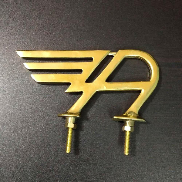 """HEAVY BRASS FINISH VINTAGE AUSTIN FLYING WING """"A"""" BONNET HOOD BADGE LOGO MASCOT """