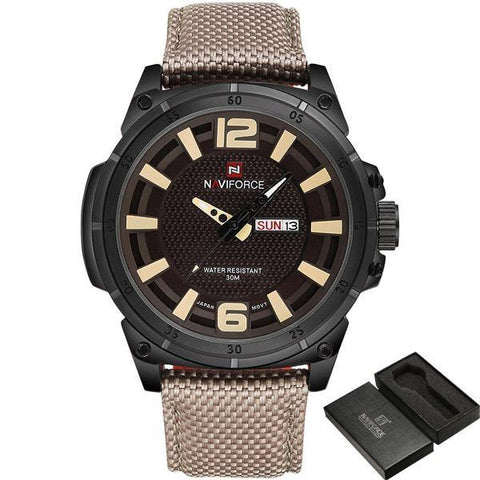 Simply Taupe - TOP NAVIFORCE Luxury Men's, Quartz Date Casual Watch, Military Watch - IntentionalGravity