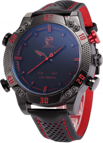 Kitefin Shark Sport Watch - Black/Red, Leather, 30M 3ATM Water Resistant - IntentionalGravity
