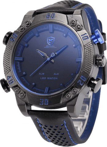 Kitefin Shark Sport Watch - Black/Blue, Leather, 30M 3ATM Water Resistant - IntentionalGravity