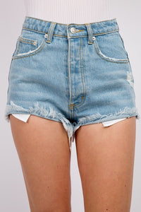 Frayed Out Denim Shorts (Light Wash)
