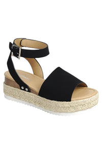 Makenzie Espadrille Sandals (Black)