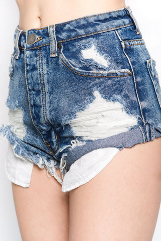 Asher Rolled Up Distressed Shorts (Medium Wash)