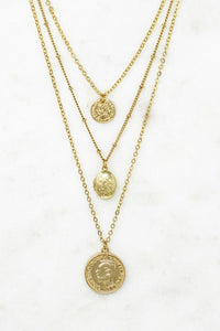 Locket Layered Coins Necklace
