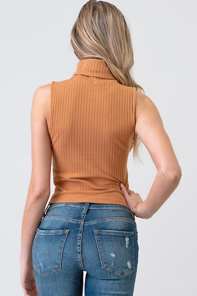 Roxie Ribbed Turtleneck Tank (Camel)