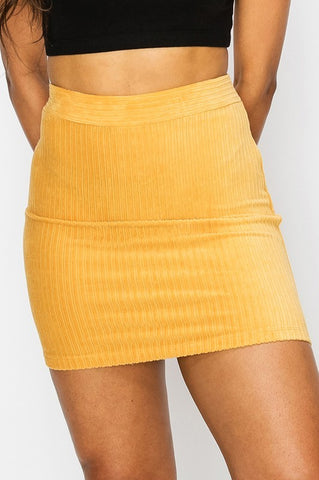 Simple Corduroy Skirt (Mustard)