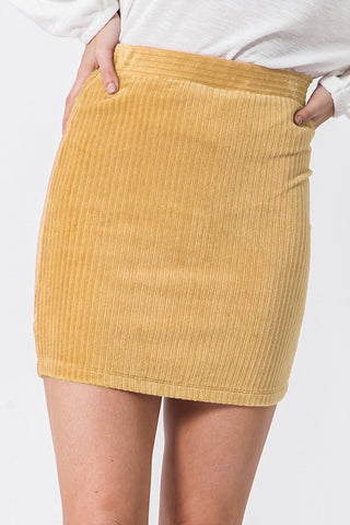 Simple Corduroy Skirt (Curry)