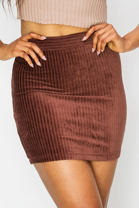 Simple Corduroy Skirt (Dark Burgundy)