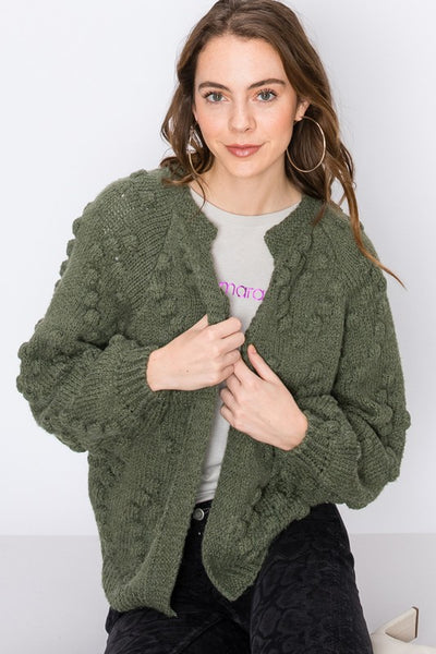 Pass The Popcorn Knit Cardigan (Olive)