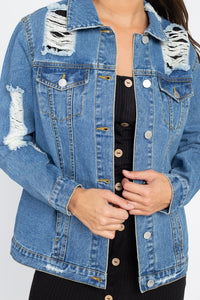 Derek Distressed Denim Jacket (Dark)