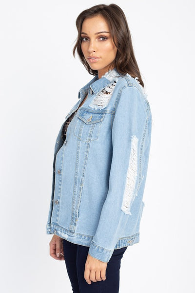 Derek Distressed Denim Jacket (Light)