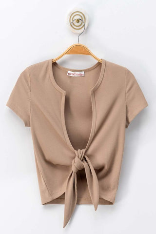 Knot Front Crop Top (Taupe)