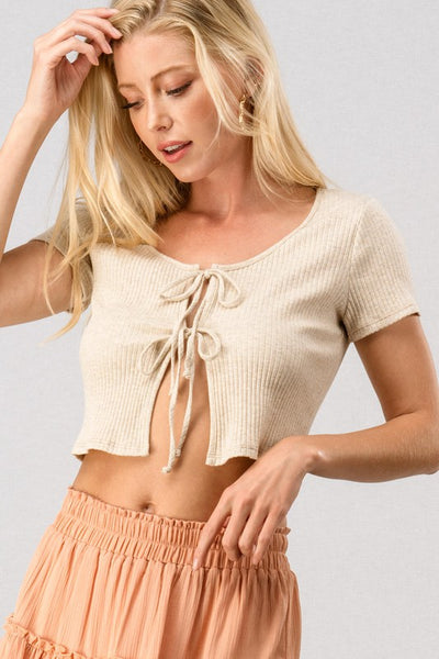 Ribbed Tie  Front Cop Top