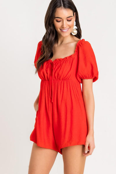Catalina Puff Sleeve Romper (Red)