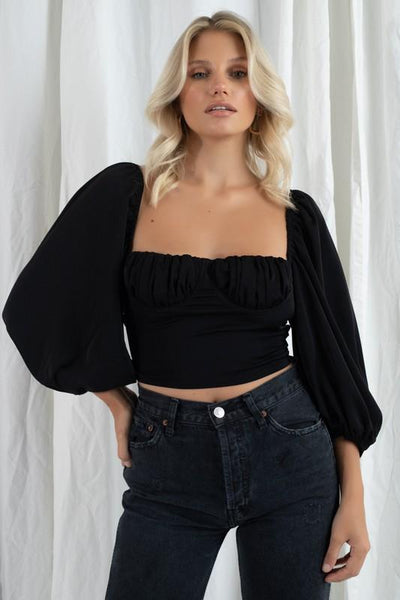 Santa Monica Ballon Sleeve Top (Black)