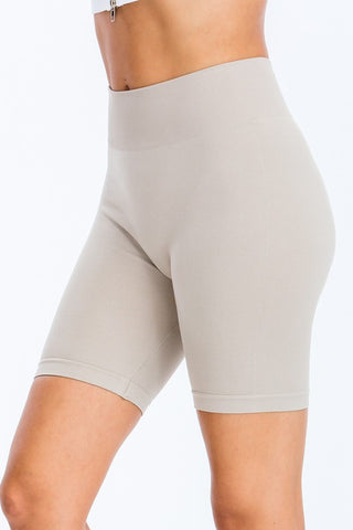 Ribbed Biker Shorts (Grey)