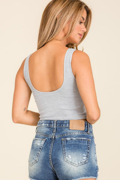 Basic Ribbed Split Tank (Grey)