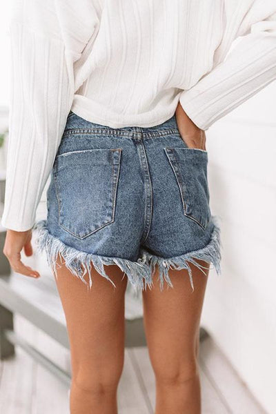 Frayed Out Denim Shorts