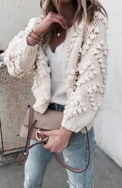Pass The Popcorn Knit Cardigan (Cream)