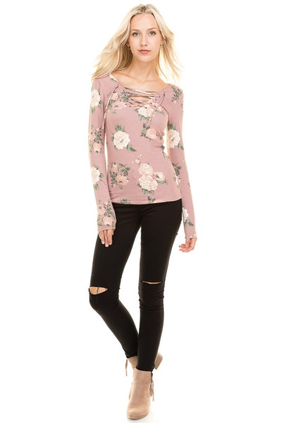 Floral Lace Up Top (Dusty Mauve)