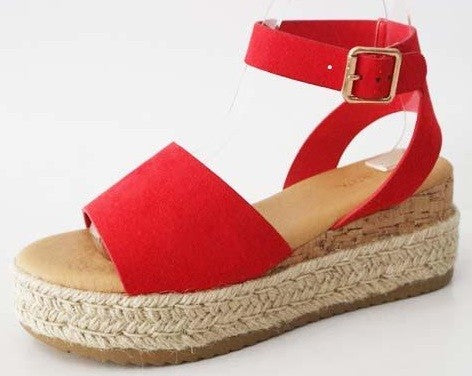 Beach Trip Espadrilles (Red)