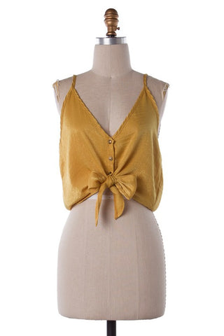 So Satin Tank Top (Mustard) (Last One Large)
