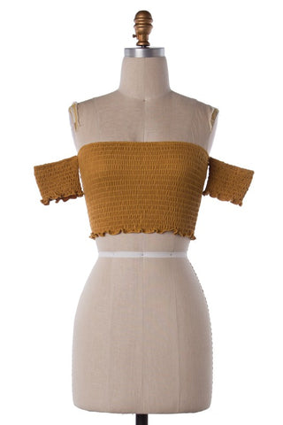 Take The Wild Side Crop Top (Mustard) (Last One Large)