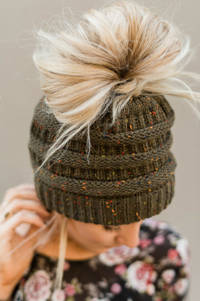 Messy Bun Confetti Knitted Beanie (New Olive)