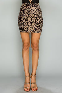 Suede Leopard Mini Skirt