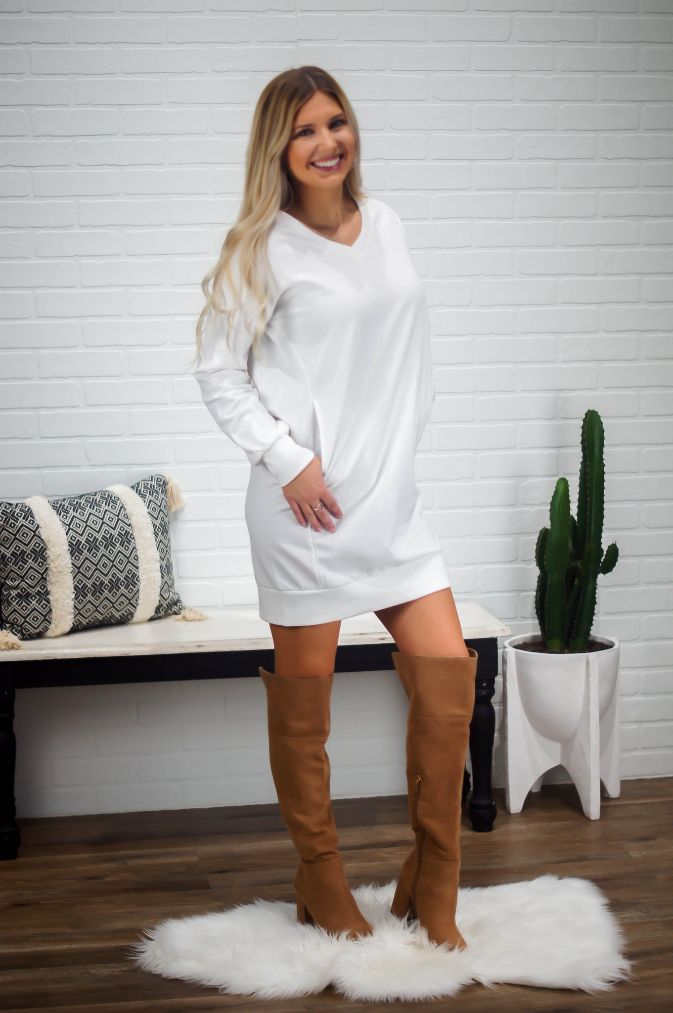 See You Later On Sweater Dress(White)