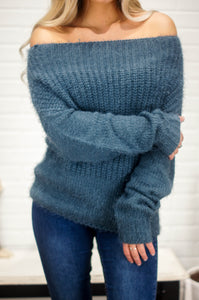 Aniston Off Shoulder Sweater (Cloud Blue)
