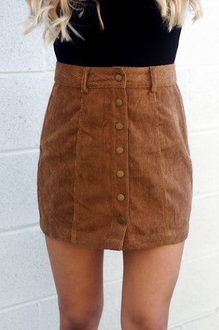 I Got You Babe Corduroy Skirt (Camel)