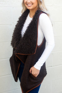 Feeling Fabulous Faux Fur Vest (Brown)