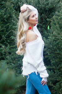 Courtney Distressed Sweater (Ivory)