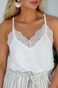 Sweet Sophistication Lace Cami  (Off White)