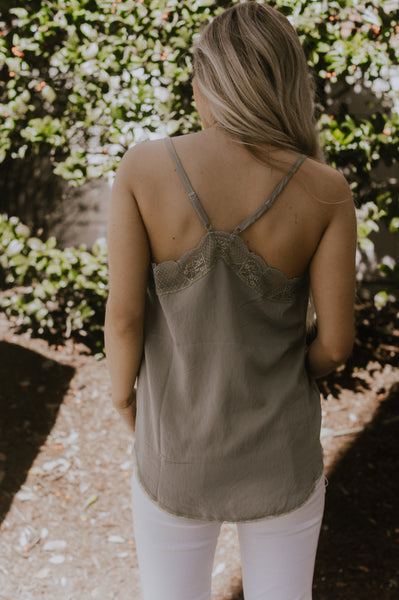 Sweet Sophistication Lace Cami  (Sage)