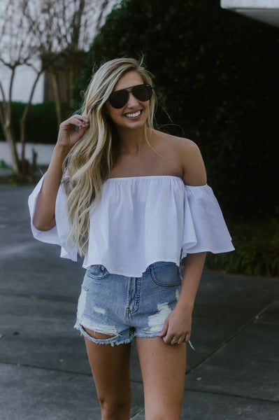 Spring Fever Crop Top (Off White)