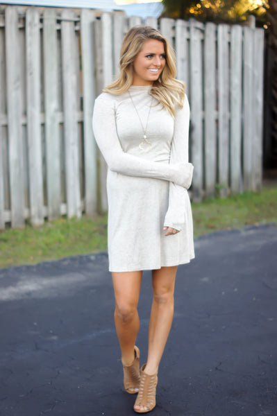 A New Day Long Sleeve Dress (Oatmeal)