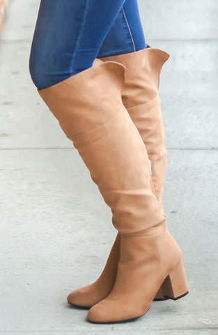 Fierce & Fabulous Over The Knee Boots (Camel)