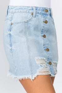 Maddie Distressed Denim Skirt (Light)