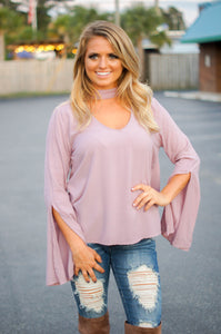 Lilac Choker Neck Bell Top
