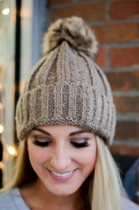 Let It Snow Beanie (Taupe) (Last One)