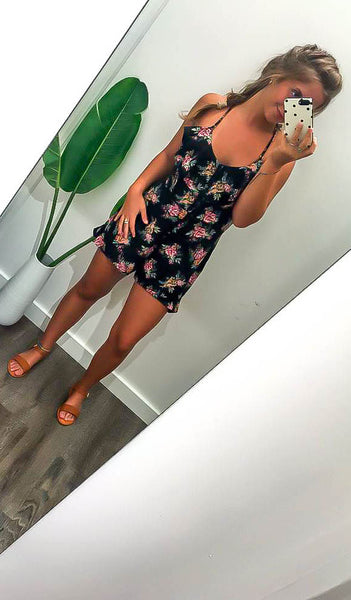 See You There Floral Romper (Black)