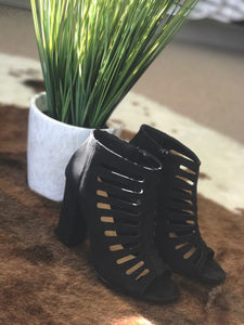 Black Cut Through Peep Toe Booties