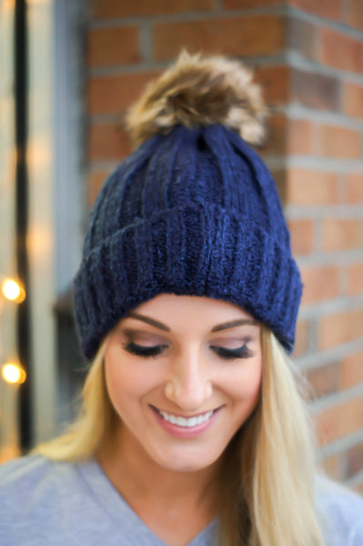 Let it Snow Beanie (Navy)
